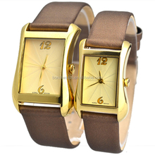 Top fashion classic stainless steel square leather strap couple lover watch