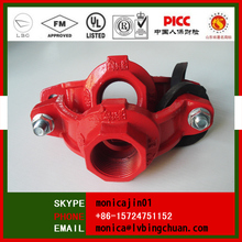 FM/UL ductile iron grooved pipe fitting end threaded mechanical pipe cross