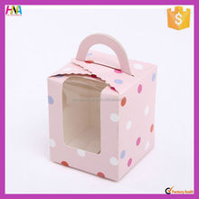 Food grade paper dots printing tarts muffin cup cake packing box with transparent window