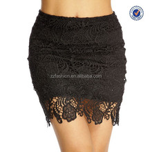 Wholesale black floral overlay above the knee wrap skirt ladies sexy micro mini skirt pictures