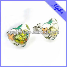 plastic painted heart shaped earrings