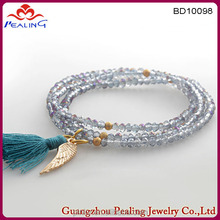 Women's tiny seed beads three wrap bracelet with tassel and wing wholesale jewelry