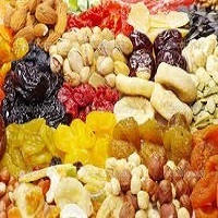 Dried Fruits : apricot , peach , fig , date , grapes , nuts..