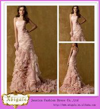 una línea stapless la longitud del piso tribunal tren de color rosa blush/colorete vestidos de novia( mg0211)