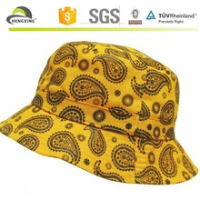 Best-Selling Yellow Digital Printing Paisley Bucket Hat And Cap