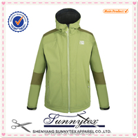 Fashion colourful warm softshell windproof hoody windbreaker jackets for men