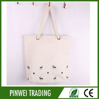 printable rope handle canvas bag for promotion