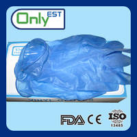Latex free disposable powder free food service blue color vinyl gloves