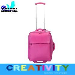 rose red elegant color unisex travelmate foldable /detachable 2wheels/4wheels fashion farbic luggage suitcase