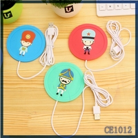 Funny cartoon design silicone cup mat.Latest Korea fashionable silicone drink coasters,Unique office usb coffee cup warmer