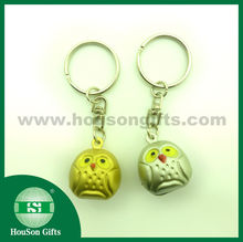 2015 new arrival High quality dull sliver owl jingle bell with keychain