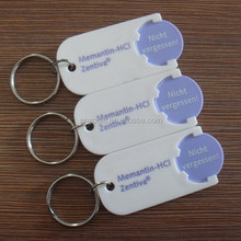shopping cart chip keychains, factory direct plastic coin keychain