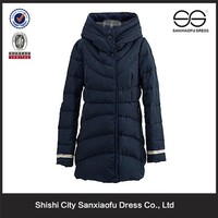 New Style Hoodie Long Down Coats Women, Stand Collar Ladies Winter Padded Coats Wholesale