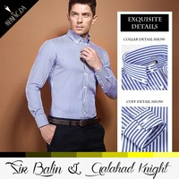 online shopping India fashion dress combed cotton fabric long sleeve striped shirt wholesale mens clothing 2015