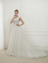 EB2622 Noble elegant One shoulder tulle with sequin lace wedding dress