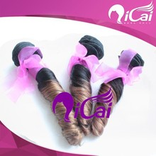 Hottest 2015 Newly Two Tone Color Spring Curl/Egg Curl Human Hair Weft 100% Peruvian Hair Extension No Tangle Cheap Price