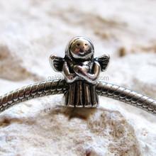 silver faithful praying angels european style large hole bead