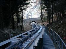 Curved belt conveyor tubes or troughed belt conveyors