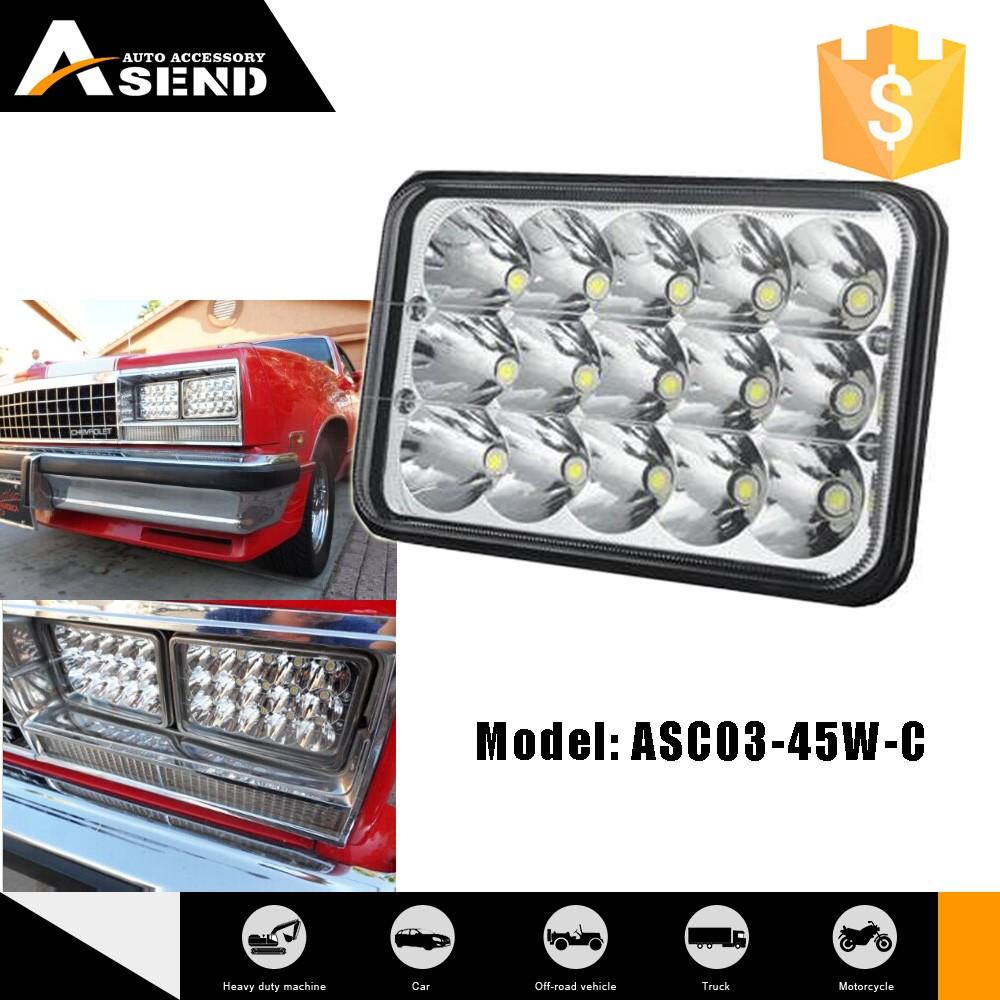 Personalizado preto/branco LEVOU 4X6 ''praça 45 W luz de trabalho para carros a partir de ASEND.