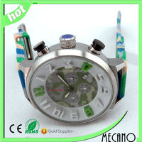 High quality stainless steel watch with Colorful silicone strap sport watch Japan movt quartz 3ATM relogio watch