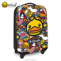 Wholesale full printing pc luggage bags and cases with removable wheels