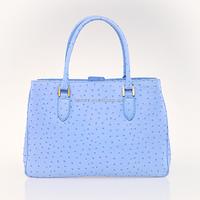 2015 good quality popular genuine ostrich leather handbags for lady