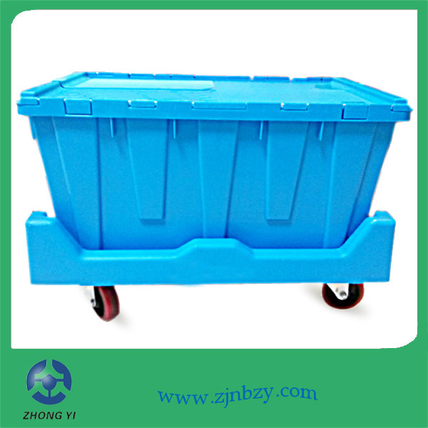 plastic crate with dolly