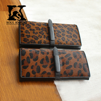 SK Women's Bifold Fashion Leopard Grain real leather Wallet case cow coated leather case
