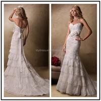 Layered Lace Mermaid Sweetheart Neckline Floor Length Custom Made Long Formal Bridal BW293 tailored wedding dresses china