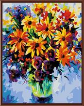 paint by numbers on canvas with flower picture GX6375