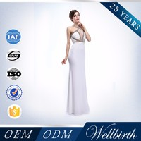 OEM ODM Sexy Backless White Custom Made Bling Bling Prom Dress
