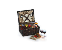 Brown Wicker Rectangle Beach Picnic Hamper Carrier Plastice Rattan Basket With Lid