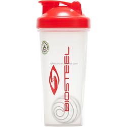 New design blender shaker bottle with unslipy cap, mesh filter or steel wire ball optional, custom color and logo