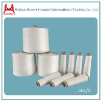 Polyester hank yarn spun polyester raw white yarn in China 50s/2
