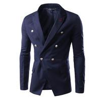 2015 Hot Sale New Korean Style Male Slim Fit Button Design Business Suit M-XXL