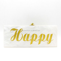 Happy love acrylic clutch bag with mirror