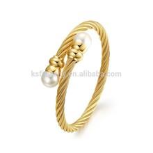 18k alambre chapado en oro pulseras brazalete de acero inoxidable de china proveedores de joyería de la perla