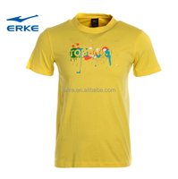 ERKE mens cheap round neck short sleeve yellow 100%cotton sports t shirt in stcok