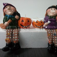 Halloween decorations Jack-O-Lantern ceramic candle and witch doll