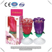 Rose flower music birthday cake candle with sparkle