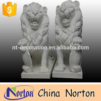 hot sale natural marble made hand carved Chinese stone Foo Dog/Lion statues/sculptures NTBM-L108R