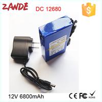 Portable regargeable DC output DC-12680 12V 6800mAh rechargeable digital camera batteries for LED light/CCTV Camera