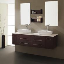 Solid Wood 60 Inch Wall Hung Double Sink Bathroom Vanity (AM-YN619M)