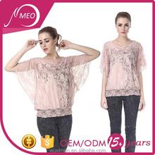 women's 2015 new design chiffon lace silk ladies blouse
