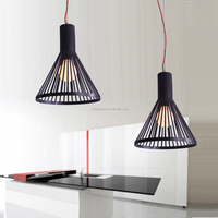Decorative LED Black Iron Line Pendant Lighting With Red Cable Ceiling Hanging Pendant Light