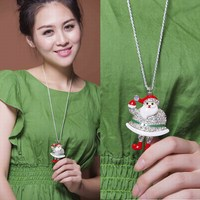 Wholesale New Arrival Bulk Stock Cheap Long Chain Christmas Gifts 2015 Ornament Accessories Santa Claus Statues Necklace Women