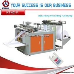 high quality computer control hot sealing hot cutting T-shirt bag making machine