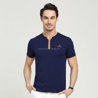 Super high quality fashion plain color young man V-neck cotton t shirt