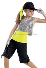 MB2015181 Teen Girls Black lycrial silver sequin top yellow lycrial T-shirt model new design hip hop dance costume