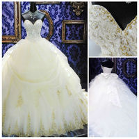 2013 Sweetheart Neckline Sleeveless Empire Waist Ball Gown Wedding Dress With Long Train Applique and Beading Work Decorated